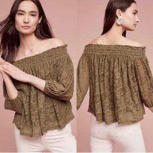 Anthro | Deletta Green Sommer Off-The-Shoulder Top